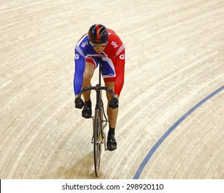 LONDON, ENGLAND. FEBRUARY 19 2012:  Sir Chris Hoy (GBR) competes in the mens sprint   at the UCI Track Cycling World Cup at the London Olympic Velodrome, Queen Elizabeth 2nd Park