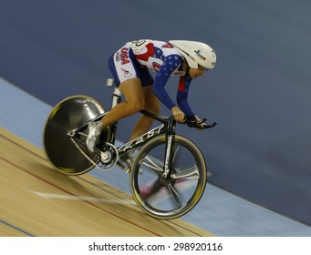 LONDON, ENGLAND. FEBRUARY 19 2012: Sarah Hammer (USA) winner of the womens Omnium at the UCI Track Cycling World Cup at the London Olympic Velodrome, Queen Elizabeth 2nd Park