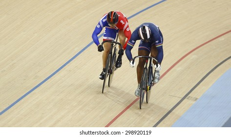 LONDON, ENGLAND. FEBRUARY 19 2012:  Sir Chris Hoy (GBR)(L) and Gregory Bauge (FRA)(R) compete  at the UCI Track Cycling World Cup at the London Olympic Velodrome, Queen Elizabeth 2nd Park