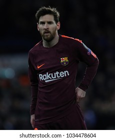 LONDON, ENGLAND - FEBRUARY 20: Lionel Messi of Barcelona during the Champions League Round of 16 First Leg match between Chelsea FC and FC Barcelona at Stamford Bridge on February 20, 2018