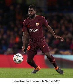 LONDON, ENGLAND - FEBRUARY 20: Samuel Umtiti of Barcelona during the Champions League Round of 16 First Leg match between Chelsea FC and FC Barcelona at Stamford Bridge on February 20, 2018