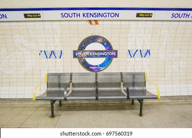 LONDON, ENGLAND - FEBRUARY 2017: Underground South Kensington tube station in London on February 2017. The London Underground is the oldest underground railway in the world covering 402 km of tracks.