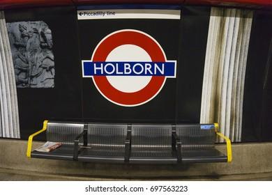 LONDON, ENGLAND - FEBRUARY 2017: Underground Holdborn tube station in London on February 2017. The London Underground is the oldest underground railway in the world covering 402 km of tracks.