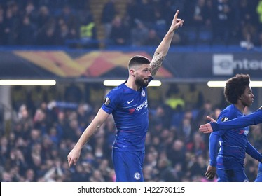 LONDON, ENGLAND - FEBRUARY 21, 2019: Olivier Giroud of Chelsea celebrates after he scored during the second leg of the 2018/19 UEFA Europa League Round of 32 game between Chelsea FC and Malmo FF.