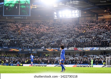 LONDON, ENGLAND - FEBRUARY 21, 2019: Malmo ultras pictured during the second leg of the 2018/19 UEFA Europa League Round of 32 game between Chelsea FC and Malmo FF.