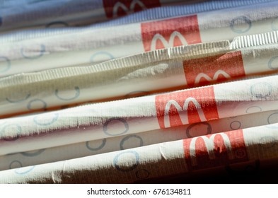 London, England - February 25, 2012: McDonald's Straws, McDonald's is the world's largest chain of hamburger fast food restaurants.