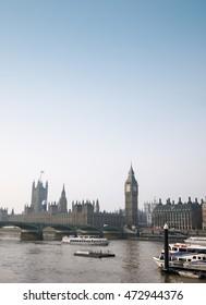 LONDON, ENGLAND - February 3, 2013: London aerial view with London Eye, the Ferris wheel high 135 meter landmark is a giant.