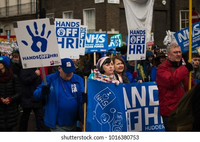 London, England - February 3rd 2018: Fund Our NHS March