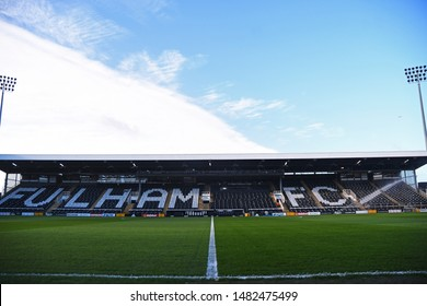 LONDON, ENGLAND - FEBRUARY 9, 2019: General view of the venue pictured prior to the 2018/19 Premier League game between Fulham FC and Manchester United at Craven Cottage.
