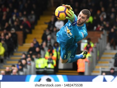 LONDON, ENGLAND - FEBRUARY 9, 2019: David de Gea of Manchester pictured during the 2018/19 Premier League game between Fulham FC and Manchester United at Craven Cottage.