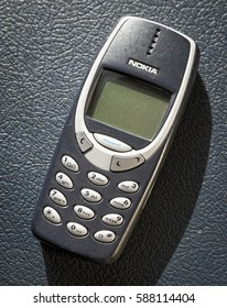 London, England - Febuary 26, 2017: Nokia 3310 Mobile Phone, One of Nokia's most popular phones, First launched in September 2000.