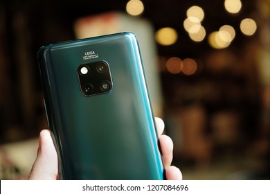 LONDON ENGLAND : HUAWEI launch new smartphone HUAWEI Mate 20 Pro Emerald Green on October 16 ,2018 london ,england