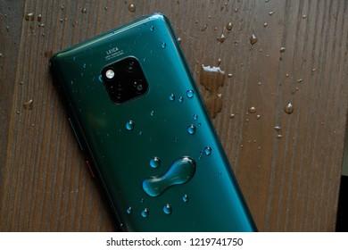 LONDON ENGLAND : HUAWEI launch new smartphone HUAWEI Mate 20 Pro Emerald Green on October 16 ,2018 london ,england