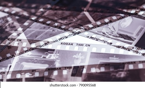 London, England - January 05, 2018: Exposed and Developed 35mm Kodak film negative strips, Eastman Kodak Company was founded in 1888