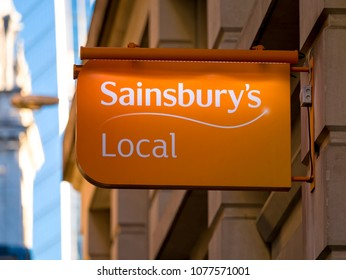 London, England - January 07, 2018: Sainsbury's Local Supermarket Sign, Sainsbury's supermarket was founded in 1869 in London.
