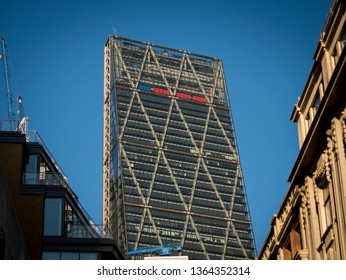 London, England - January 07, 2018: The Cheese Grater or The Leadenhall building in London's Financial district, The Building was designed by Rogers Stirk Harbour and completed in 2014