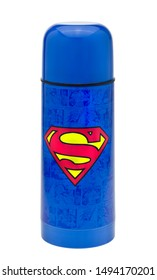 London, England - January 08, 2013: Superman Flask for keeping hot drinks warm, Superman a fictional character with superhuman abilities created in 1938 by writer Jerry Siegel and artist Joe Shuster