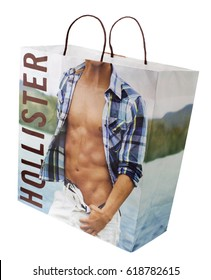 London, England - January 11, 2014: Hollister Carrier Bag,  Hollister is an American fashion brand owned by Abercrombie & Fitch Co and founded in 2000.