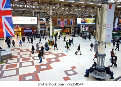 London, England - January 12, 2018: London Victoria is the second-busiest railway station in Great Britain by annual entries/exits (81.151 million).