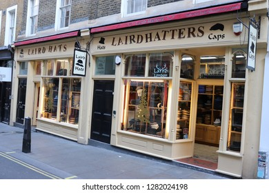 London, England, January 12th 2019: Laird Hatters in New Row, London