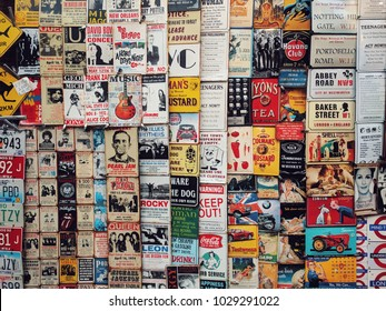 London, England - January 13, 2018: Color vintage tin adverts on a window shop in London, England.