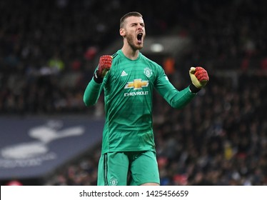 LONDON, ENGLAND - JANUARY 13, 2019: David de Gea of Manchester celebrates after a goal scored by his team during the 2018/19 Premier League game between Tottenham Hotspur and Manchester United.