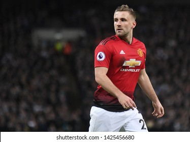 LONDON, ENGLAND - JANUARY 13, 2019: Luke Shaw of Manchester pictured during the 2018/19 Premier League game between Tottenham Hotspur and Manchester United at Wembley Stadium.