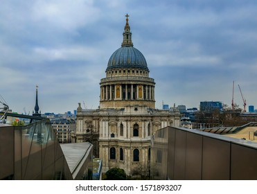 London, England - January 14, 2018: View of St. Paul's Cathedral and London skyline from One New Change shopping centre on a cloudy day