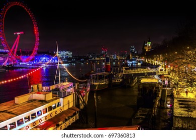 LONDON, ENGLAND - JANUARY 15, 2017 Big Eye Ferris Wheel Thames River Westminster Bridge Night Westminster London England.