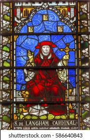 LONDON, ENGLAND - JANUARY 16, 2017 Cardinal Simon Langham Stained Glass 13th Century Chapter House Westminster Abbey Church London England.  Cardinal Langham Archbishop of Canterbury 1366 to 1368.