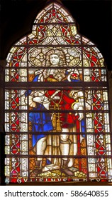 LONDON, ENGLAND - JANUARY 16, 2017 King George III Stained Glass 13th Century Chapter House Westminster Abbey Church London England.  King George III was King during the American Revolution.