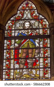LONDON, ENGLAND - JANUARY 16, 2017 King Charles 1 Stained Glass 13th Century Chapter House Westminster Abbey Church London England.  The burial place of Britain's monarchs since the 11th century