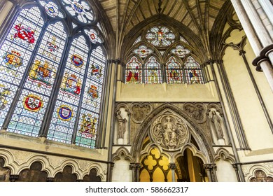 LONDON, ENGLAND - JANUARY 16, 2017 Interior Arches Stained Glass 13th Century Chapter House Westminster Abbey Church London England. The burial place of Britain's monarchs since the 11th century.