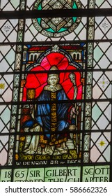 LONDON, ENGLAND - JANUARY 16, 2017 Edward White Benson Archbishop of Canterbury 1883-1896 Stained Glass 13th Century Chapter House Westminster Abbey Church London England.