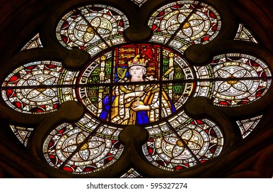 LONDON, ENGLAND - JANUARY 16, 2017 Queen Victoria Stained Glass 13th Century Chapter House Westminster Abbey Church London England.