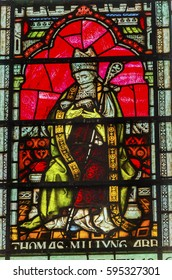 LONDON, ENGLAND - JANUARY 16, 2017 Saint Thomas Becket Archbishop Canterbury Stained Glass Chapter House Westminster Abbey London England. Becket was killed by King Henry II and became a Saint.