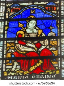 LONDON, ENGLAND - JANUARY 16, 2017 Queen Bloody Mary Stained Glass 13th Century Chapter House Westminster Abbey Church London England.  Bloody Mary was queen from 1153 to 1558 before Elizabeth.