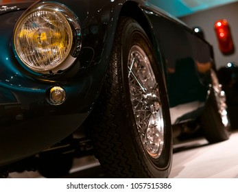 London, England - January 17, 2018: Detail of a Ferrari 166 M Barchetta from 1950, Ferrari is an Italian Sports Car manufacturer founded in Italy 1947.