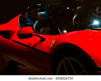 London, England - January 17, 2018: Detail of a Ferrari J50 Clay Model from 2015, Ferrari is an Italian Sports Car manufacturer founded in Italy 1947.