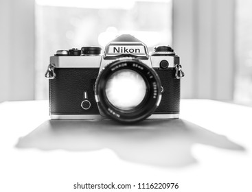 London, England - January 17, 2018:  Nikon FE single lens reflex 35mm professional film camera, First launched in 1978 and remained in production until 1983.