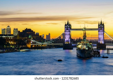 London, England - January 20 2017: A beautiful view looking at Tower bridge in London at sunrise.