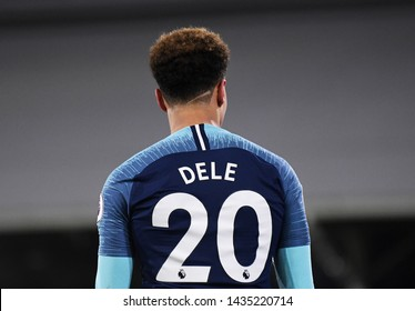 LONDON, ENGLAND - JANUARY 20, 2019: Dele Alli of Tottenham pictured from behind during the 2018/19 Premier League game between Fulham FC and Tottenham Hotspur at Craven Cottage.