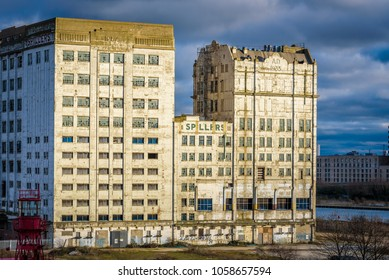 London, England. January 2018. The Millennium Mills in Silvertown opposite the Excel centre in east London