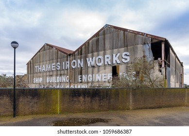London, England. January 2018. Old abandoned building used by The Thames Ironworks Ship building and  Company, located in Orchard Place, Bow Creek, Leamouth.