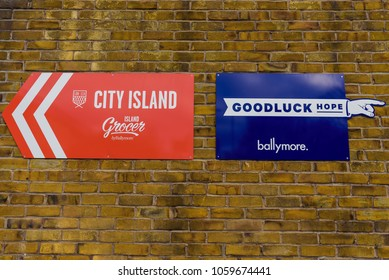London, England. January 2018. Signs of City Island and Goodluck Hope, showing new construction sites in East London by Ballymore.