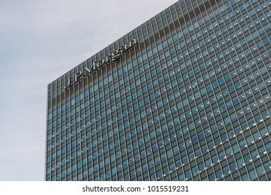 London, England - January 2018. View of J. P. Morgan building in Canary Wharf.