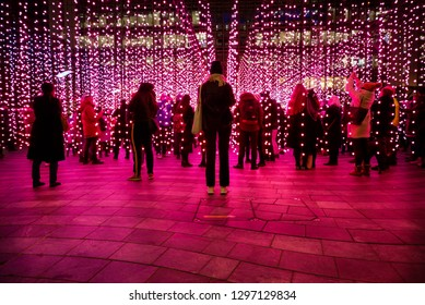 London, England – January 2019 : Submergence by Squidsoup, Winter Lights Festival 2019. Interactive art installations at Canary Wharf