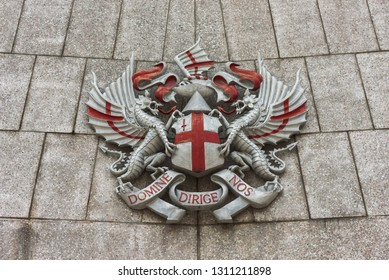 London, England - January 2019. View of the City of London emblem, with written the Latin words Domine Dirige Nos.