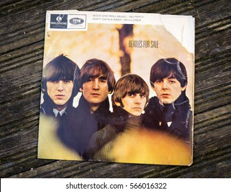 London, England - January 21, 2017: Beatles for Sale EP Single by The Beatles first released oin 4th December 1964 on Parlophone label and produced by George Martin.