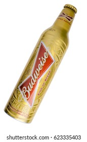 London, England - January 23, 2016: Bottle of Budweiser Beer, A limited edition world cup 2014 design, Budweiser was one of the offical sponsors, Budweiser was founded in 1876.